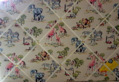 Large 60x40cm Cath Kidston Safari Animals Hand Crafted Fabric Notice / Pin