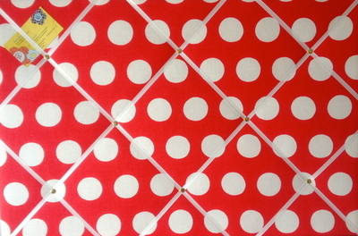 Large 60x40cm Cath Kidston Big Red Spot Hand Crafted Fabric Notice / Pin /