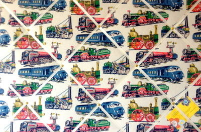 Large 60x40cm Cath Kidston Train / Trains Hand Crafted Fabric Notice / Pin