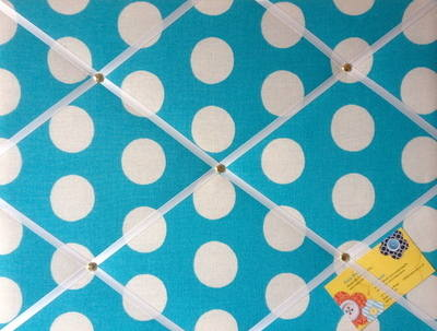 Medium 40x30cm Cath Kidston Big Blue Spot Hand Crafted Fabric Notice / Pin