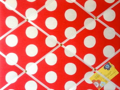 Medium 40x30cm Cath Kidston Big Red Spot Hand Crafted Fabric Notice / Pin /