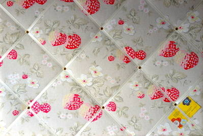 Large 60x40cm Cath Kidston Wild Strawberry Hand Crafted Fabric Notice / Pin