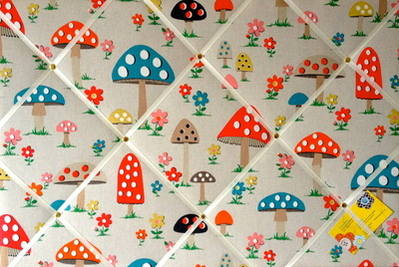Large 60x40cm Cath Kidston Mushroom Hand Crafted Fabric Notice / Pin / Memo