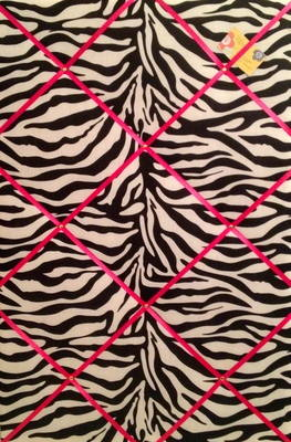 Large 60x40cm Zebra Print Pink Ribbon Hand Crafted Fabric Notice / Pin / Me