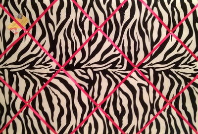Extra Large 60x90cm Zebra Print Pink Ribbon Fabric Pin / Memo / Notice / Me
