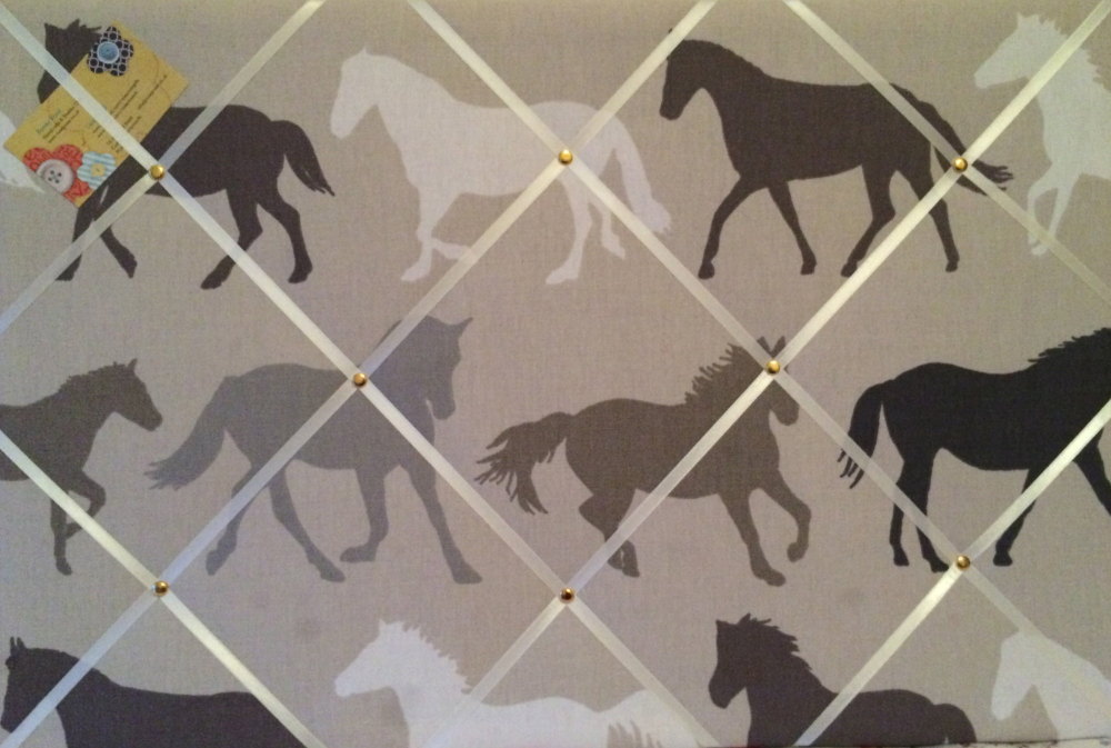 Large 60x40cm Clarke & Clarke Stampede Horses Hand Crafted Fabric Notice /