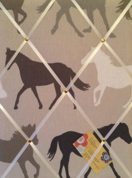 Medium 40x30cm Clarke & Clarke Horse / Horses Stampede Crafted Fabric Notice / Pin / Memo / Memory Board