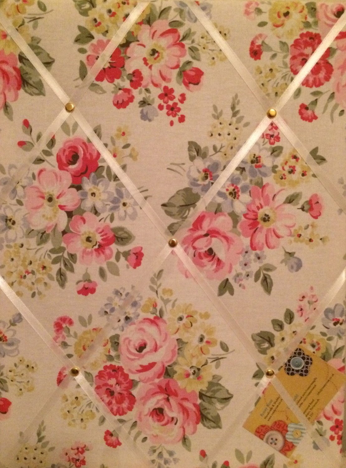 Medium 40x30cm Cath Kidston White Spring Bouquet Hand Crafted Fabric Notice