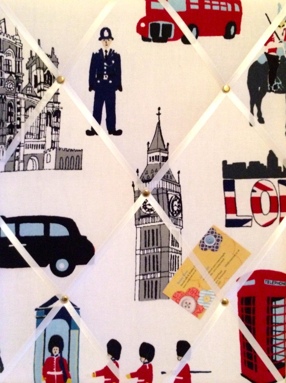 Medium 40x30cm Prestigious London Capital Hand Crafted Fabric Notice / Pin