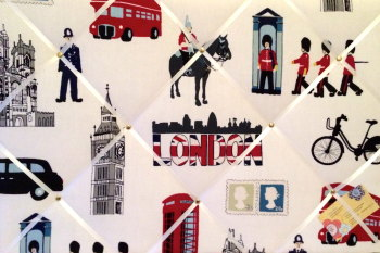 Large 60x40cm Prestigious London Capital City Hand Crafted Fabric Notice / Memory / Pin / Memo Board