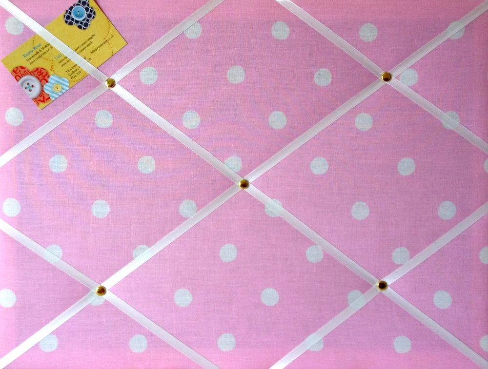 Medium 40x30cm Cath Kidston Pink Spot Hand Crafted Fabric Notice / Pin / Me
