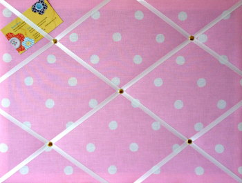 Medium 40x30cm Cath Kidston Pink Spot Hand Crafted Fabric Notice / Pin / Memo / Memory Board