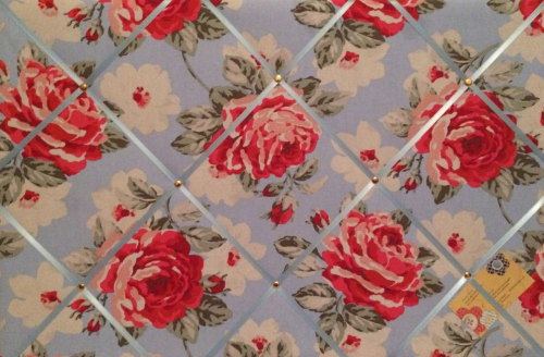 Large 60x40cm Cath Kidston New Rose Bloom Blue Hand Crafted Fabric Notice /