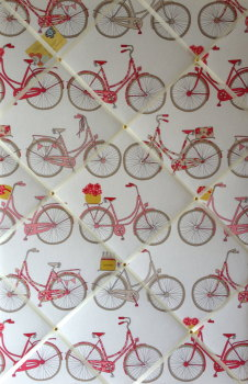 Large 60x40cm Ashley Wilde Vertical Poppy Totnes Cycling Bike Hand Crafted Fabric Memory / Notice / Pin / Memo Board