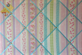 Large 60x40cm Laura Ashley Clementine Stripe Turquoise Ribbon Hand Crafted Fabric Notice / Pin / Memo / Memory Board