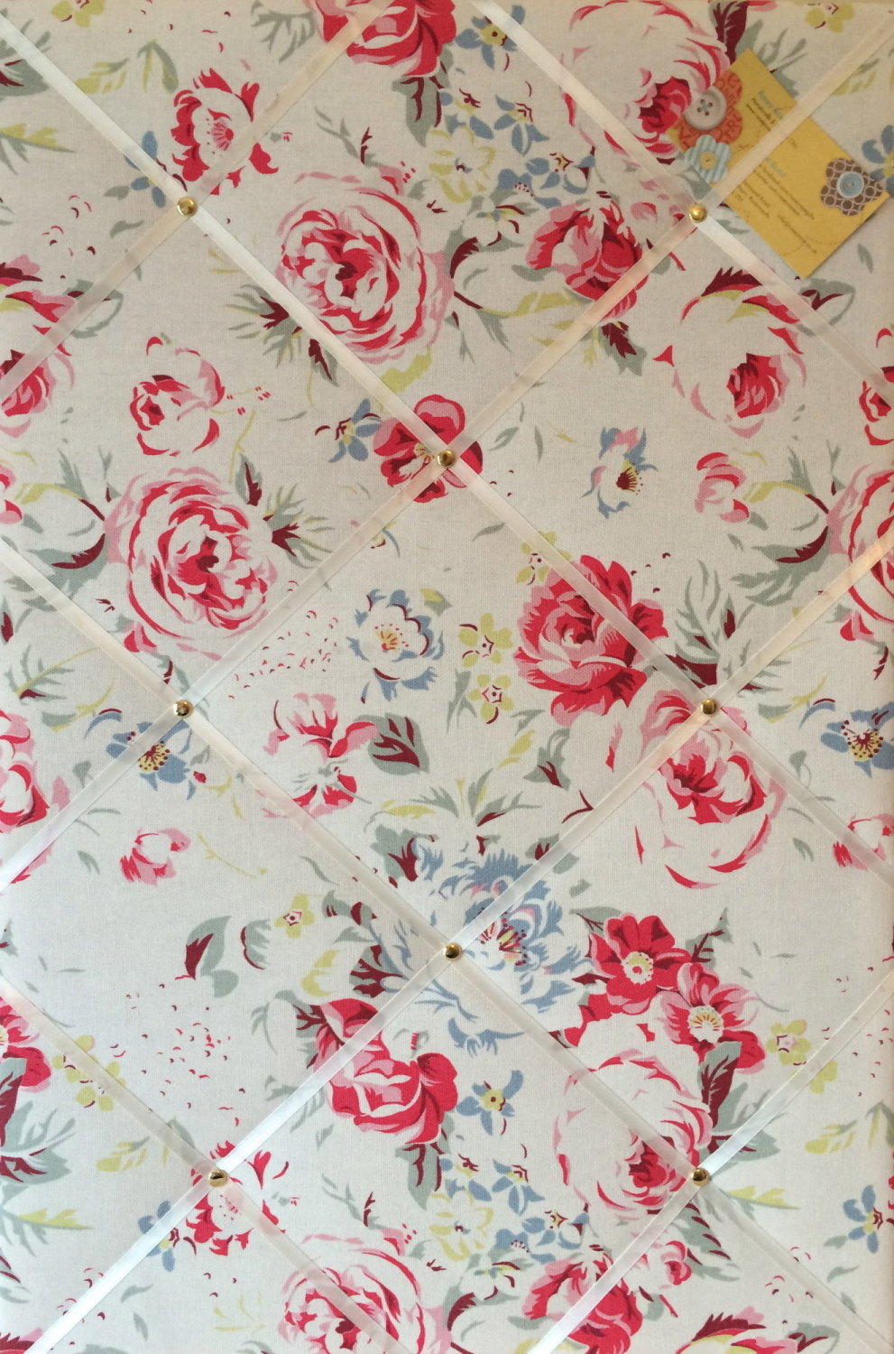 Large 60x40cm Cath Kidston Greenwich Rose White Hand Crafted Fabric Notice