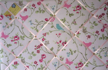 Large 60x40cm Clarke & Clarke Rose Bird Trail Hand Crafted Fabric Notice / Memory / Pin / Memo Board