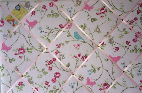 Large 60x40cm Clarke & Clarke Rose Bird Trail Hand Crafted Fabric Notice /