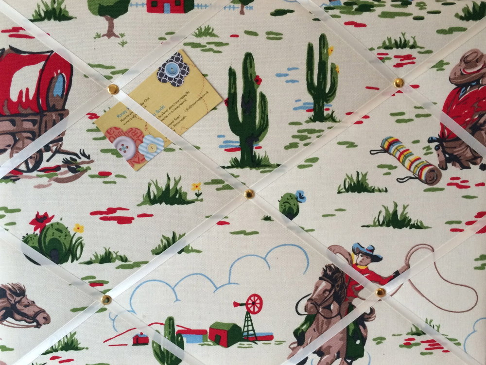 Medium 40x30cm Cath Kidston Cowboy Horse Hand Crafted Fabric Notice / Pin /