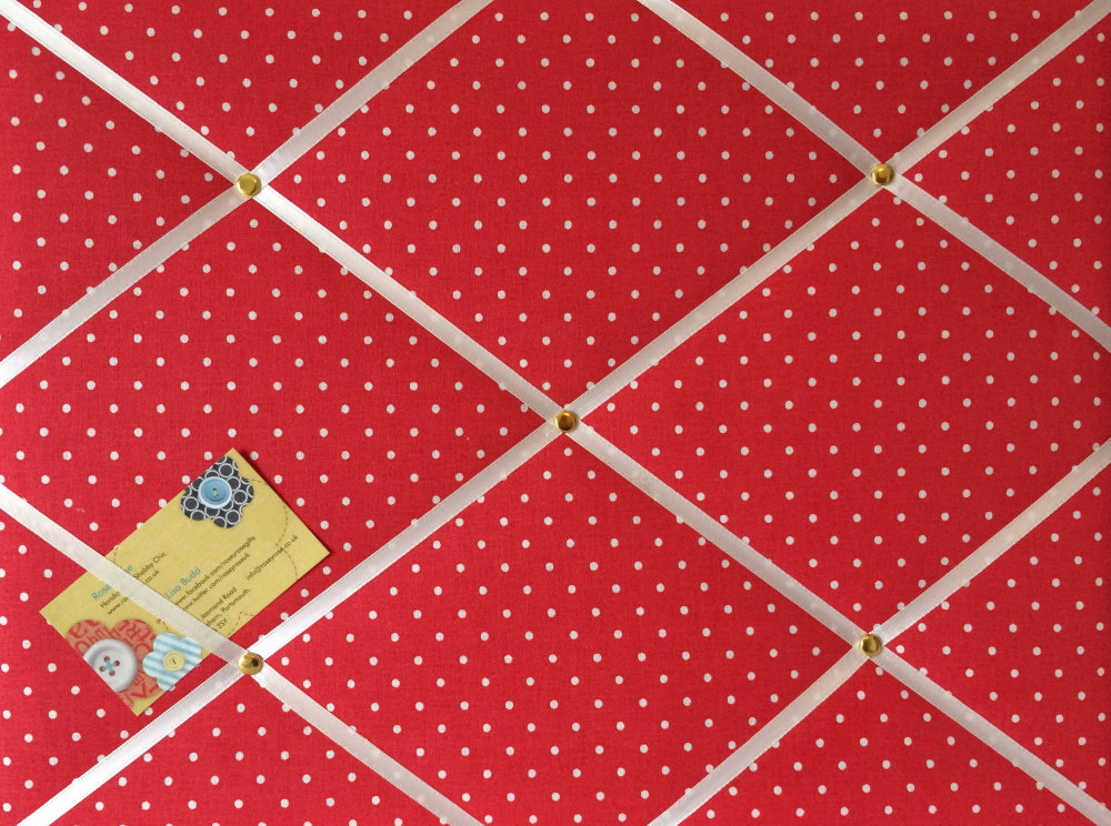 Medium Cath Kidston Red Mini Dot Hand Crafted Fabric Notice / Pin / Memo Bo