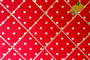 Large 60x40cm Cath Kidston Red Spot Hand Crafted Fabric Notice / Pin / Memo / Memory Board