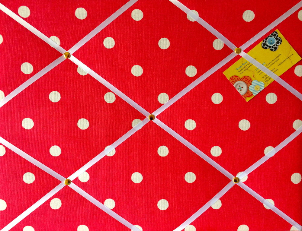 Medium 40x30cm Cath Kidston Red Spot Hand Crafted Fabric Notice / Pin / Mem