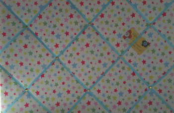 Large 60x40cm Cath Kidston Shooting Star Hand Crafted Fabric Notice / Pin / Memo / Memory Board