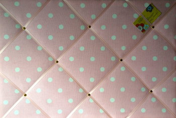 Large Cath Kidston Pink Spot Hand Crafted Fabric Notice / Pin / Memo Board
