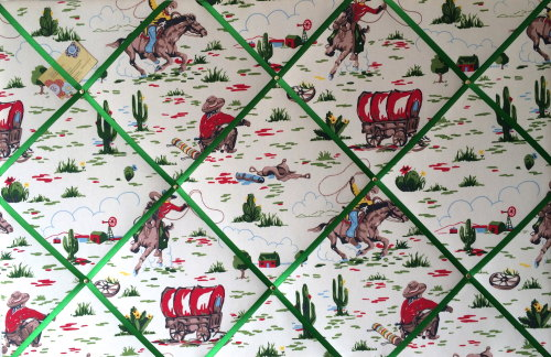Large 60x40cm Cath Kidston Cowboy Horse Hand Crafted Fabric Notice / Pin /
