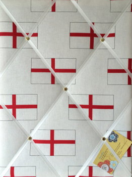 Medium 40x30cm White & Red England Multiple St George's Flag World Cup Football Handcrafted Fabric Notice / Memory / Pin / Memo Board