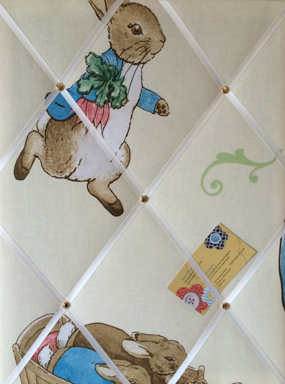 Medium 40x30cm Beatrix Potter Peter Rabbit Crafted Fabric Notice / Pin / Me