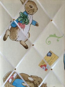 Medium 40x30cm Beatrix Potter Peter Rabbit Crafted Fabric Notice / Pin / Memo / Memory Board