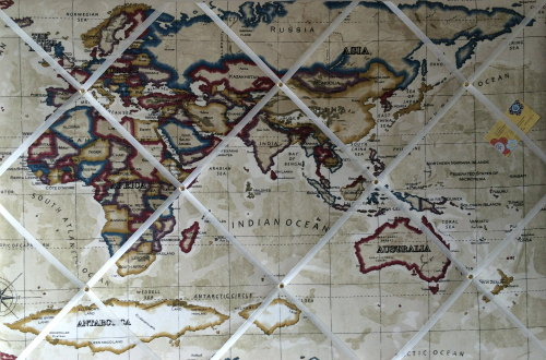Extra large Prestigious Stone World Map Hand Crafted Fabric Notice / Pin /