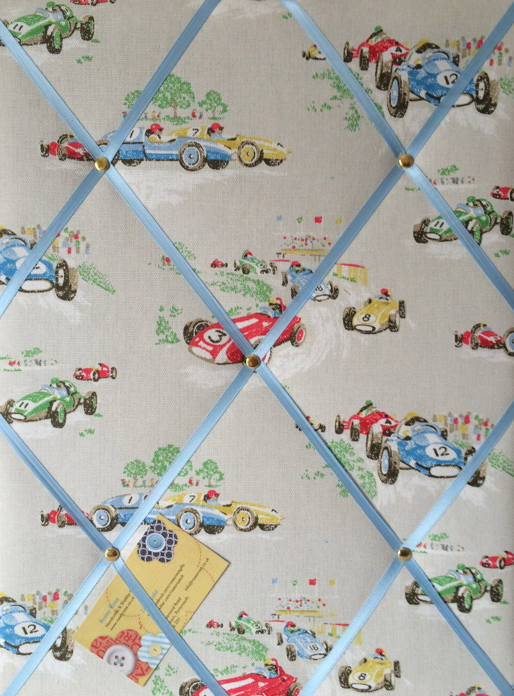 Medium Cath Kidston Vintage Racing Car Hand Crafted Fabric Notice / Pin / M