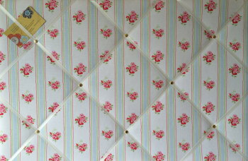 Large 60x40cm Cath Kidston White Rose Stripe Hand Crafted Fabric Notice / Pin / Memo / Memory Board