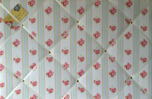 Large 60x40cm Cath Kidston White Rose Stripe Hand Crafted Fabric Notice / P