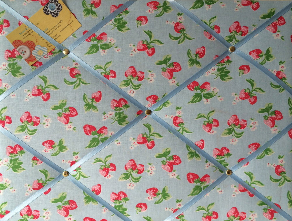 Medium Cath Kidston Blue Mini Strawberry Hand Crafted Fabric Notice / Pin /