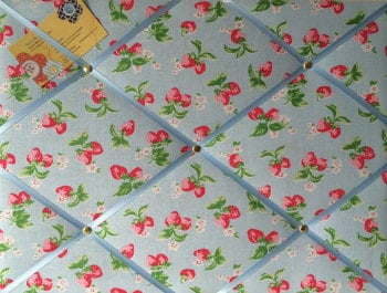 Medium 40x30cm Cath Kidston Blue Mini Strawberry Hand Crafted Fabric Notice / Pin / Memo / Memory Board