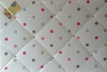 Large 60x40cm Clarke & Clarke Mineral Multi Colour Spot Hand Crafted Fabric Notice / Memory / Pin / Memo / Memory Board