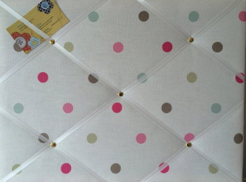 Medium 40x30cm Clarke & Clarke Mineral Multi Colour Spot Crafted Fabric Notice / Pin / Memo / Memory Board