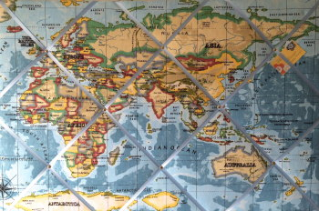 Extra large 90x60cm Prestigious Blue World Map / Atlas Hand Crafted Fabric Notice / Pin / Memo / Memory Board
