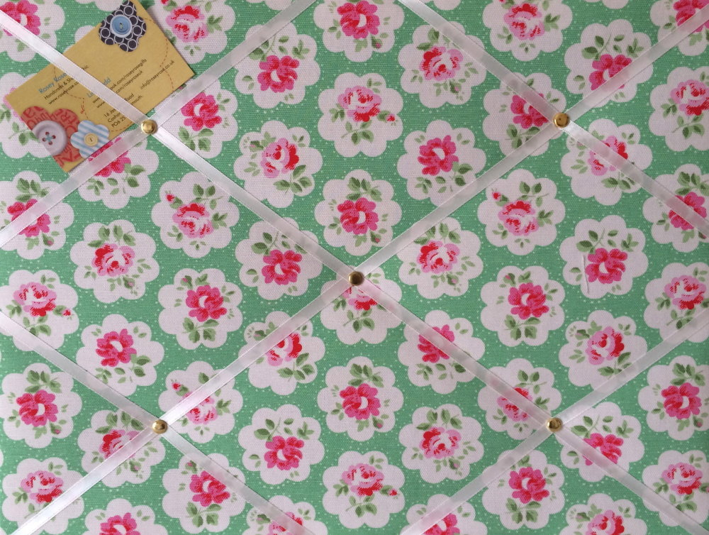 Medium 40x30cm Cath Kidston Green Provence Rose Hand Crafted Fabric Notice