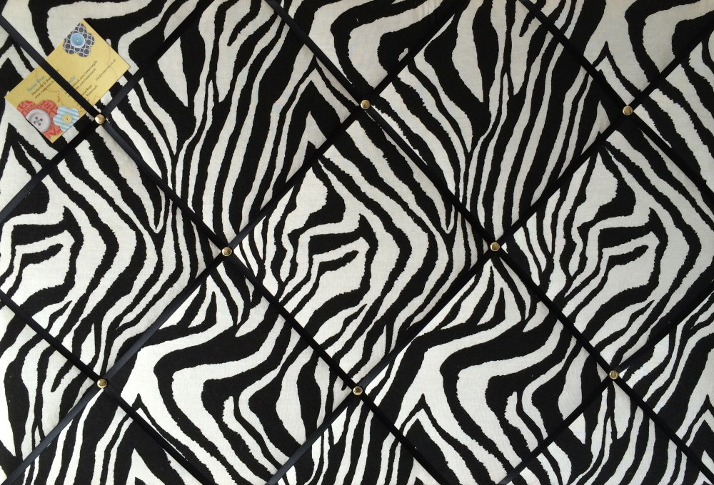 Large 60x40cm Animal Zebra Print Hand Crafted Fabric Notice / Pin / Memo /