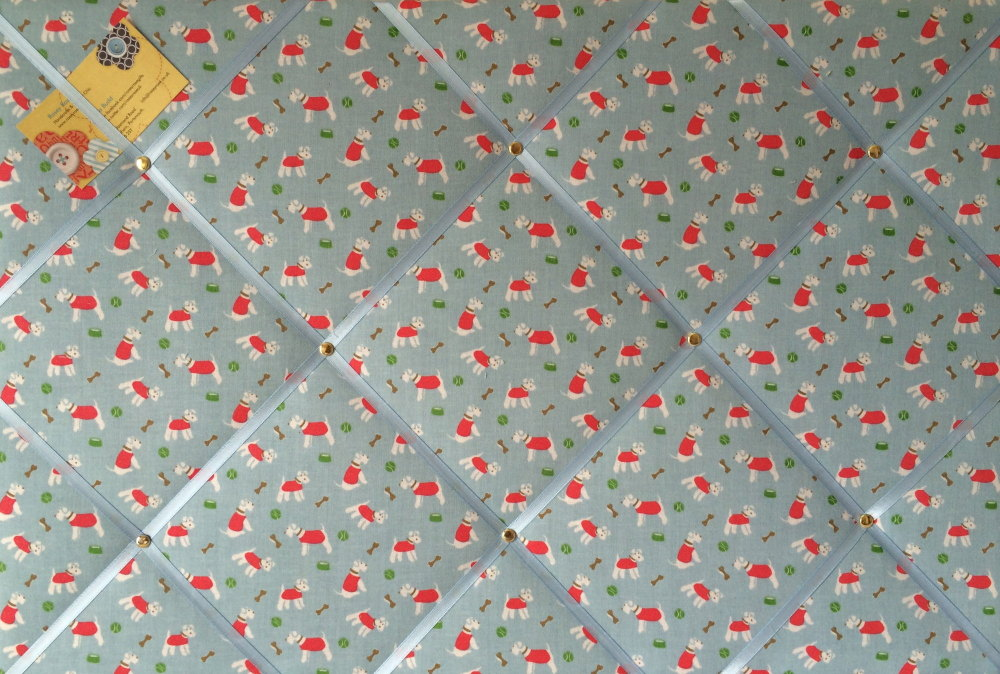 Large 60x40cm Cath Kidston Blue Mini Stanley Hand Crafted Fabric Notice / P