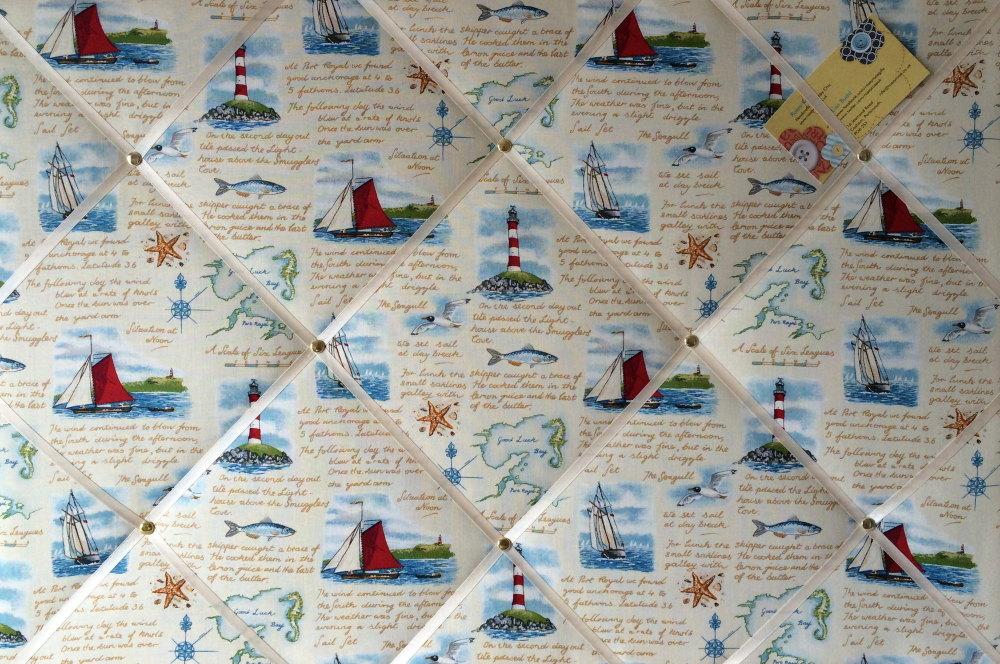 Large 60x40cm Makower Seaside Ships Lighthouse Nautical Hand Crafted Fabric