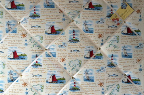 Large 60x40cm Makower Seaside Ships Lighthouse Nautical Hand Crafted Fabric