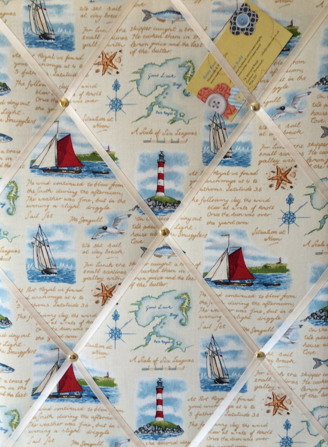 Medium 40x30cm Makower Seaside Ships Lighthouse Nautical Hand Crafted Fabri