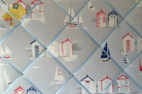 Large 60X40cm Clarke & Clarke Beach Huts Seasise Hand Crafted Fabric Notice / Memory / Pin / Memo / Memory Board