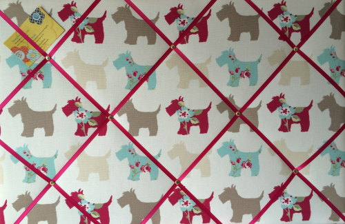 Large 60x40cm Clarke & Clarke Scottie Dog Taupe Pink Hand Crafted Fabric No