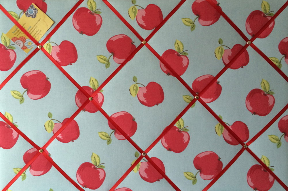Large 60X40CM Clarke & Clarke Apple / Apples Hand Crafted Fabric Notice / M